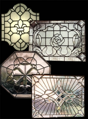 Beveled and cut glass door panels