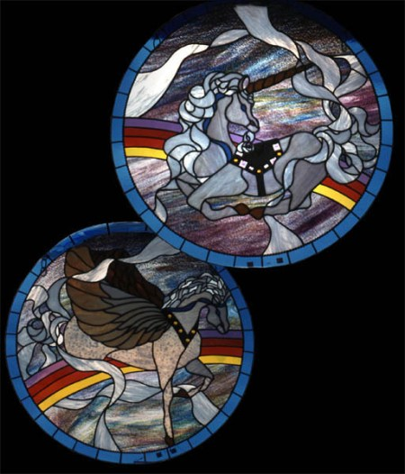 round stained glass panels